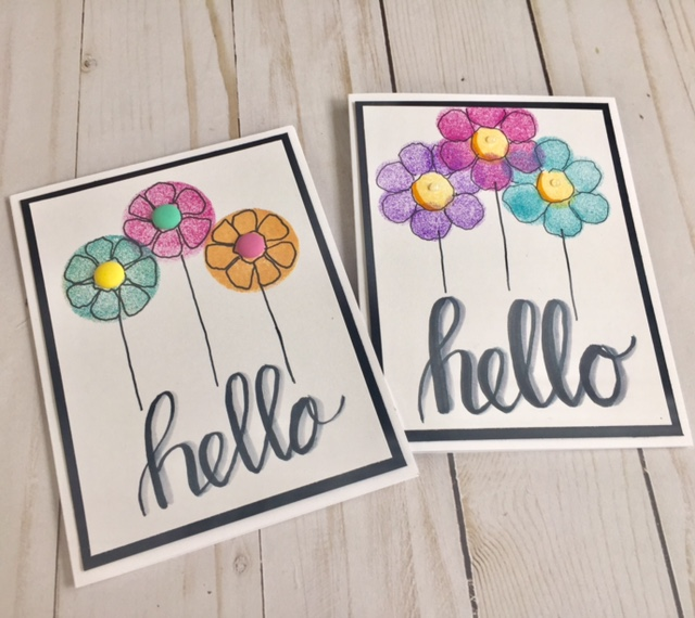 Hand Drawn Retro Flower Cards