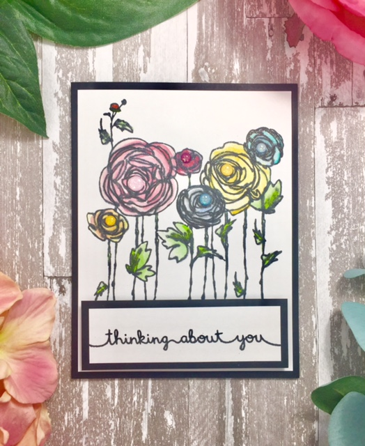 Stampendous Ranunculus Field & Lawn Fawn Sentiment Card