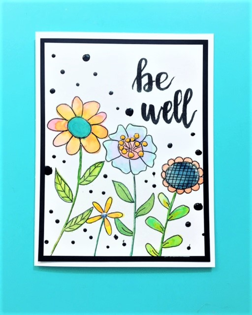 Be Well Retro Floral Card