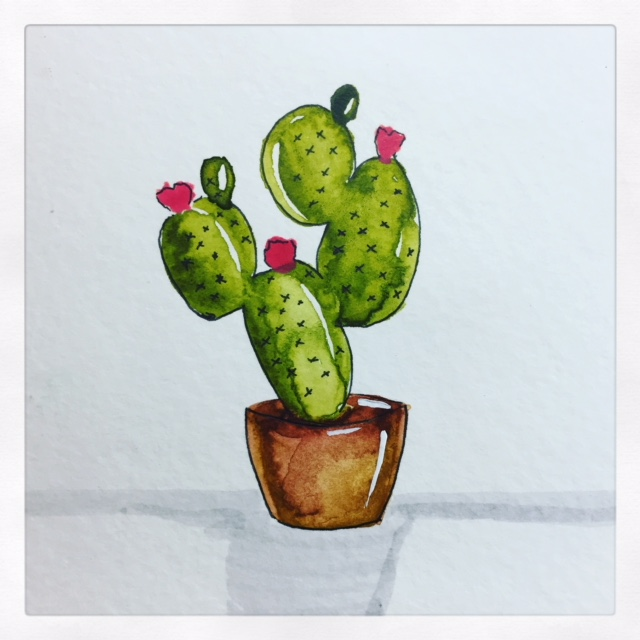 Simple Cactus Watercolor with Prima