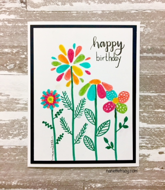 Hand-drawn & Lettered Retro Floral Card
