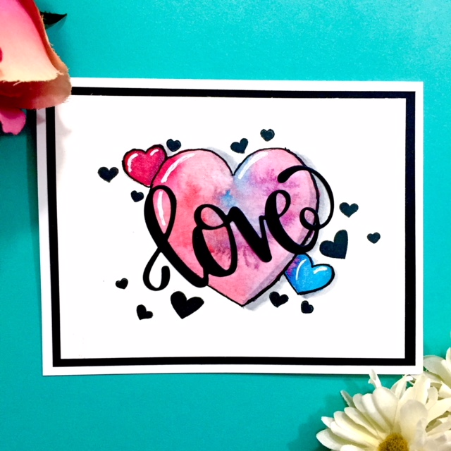 Watercolor Hand-drawn Hearts